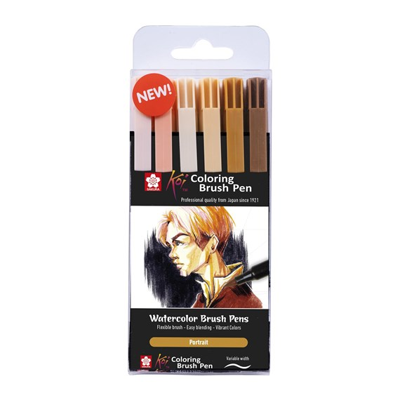 Koi coloring brush pen set 6 portrait - PackshotFront