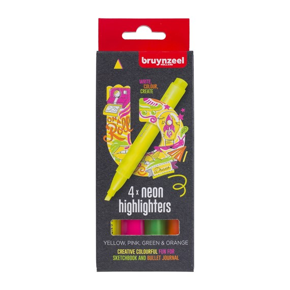 Highlighters set neon 4 colours - PackshotFront