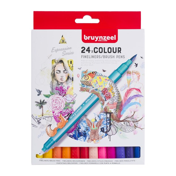 Creatives Fineliner Brush pen set 24 colours - PackshotFront