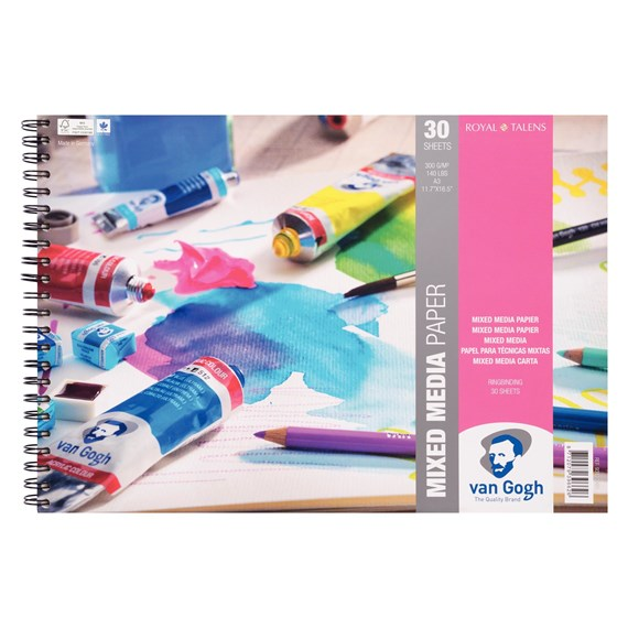 "Mixed Media Paper Spiral Bound Pad, 30 Sheets, 300g/140lb., size 42 x 29.7cm (A3) / 11.7"" x 16.5"" - PackshotFront"