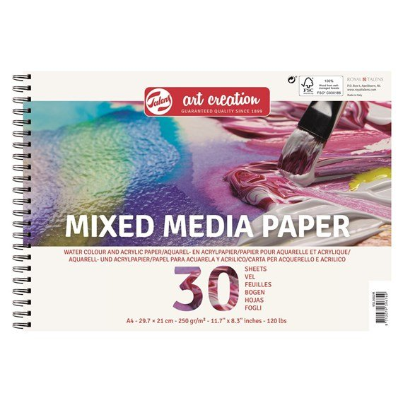 Mix Media Papier A4, 250G, 30 Feuilles - PackshotFront