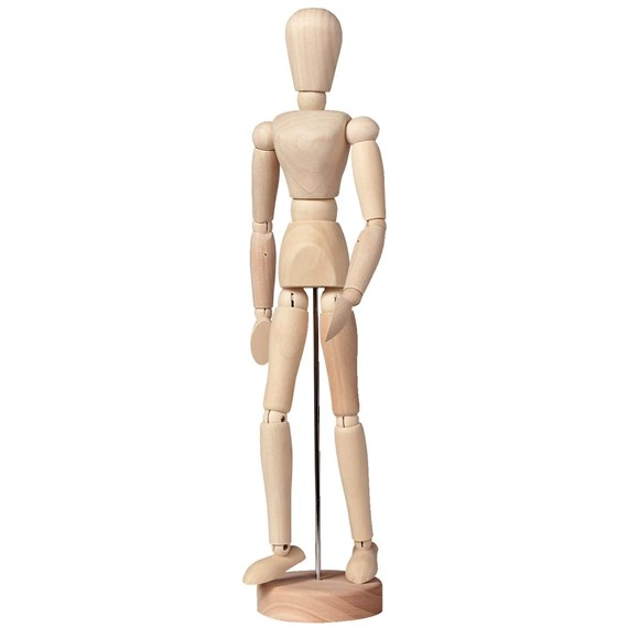 Manikin Female, Plain Wood, Height 30 Cm - PackshotFront