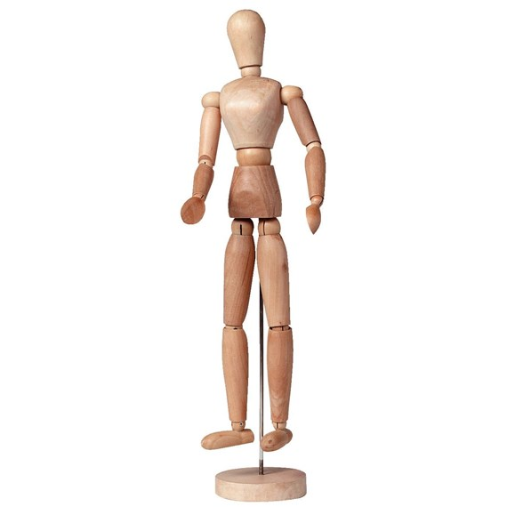 Manikin Female, Plain Wood, Height 40 Cm - PackshotFront