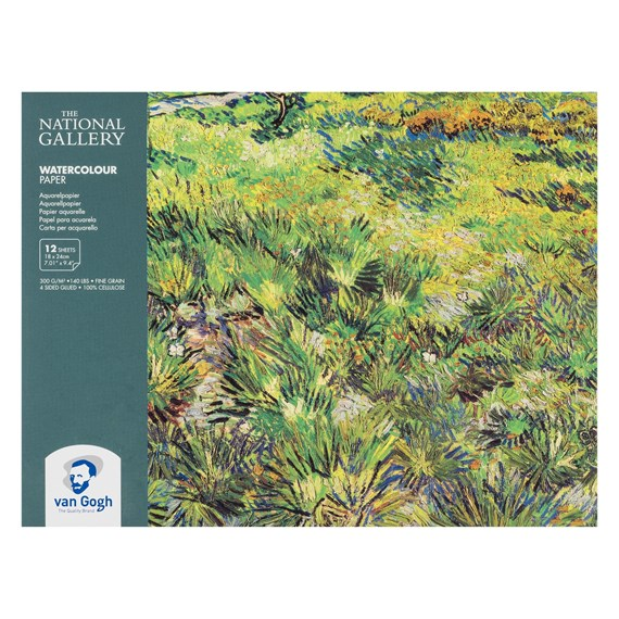 "The National Gallery Water Colour Paper Block, 12 Sheets, 300g/140lb., size 18 x 24cm / 7.01"" x 9.4"" - PackshotFront"
