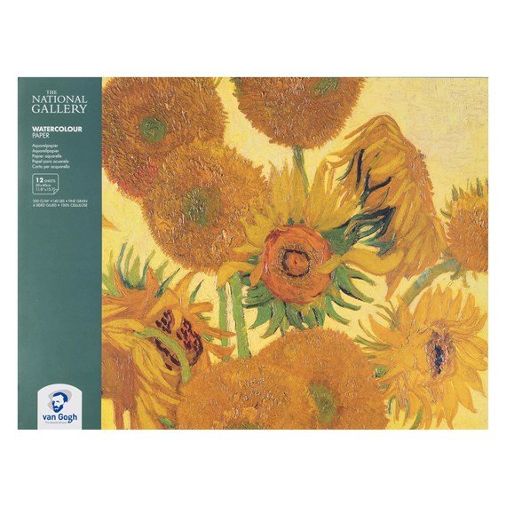 "The National Gallery Water Colour Paper Block, 12 Sheets, 300g/140lb., size 30 x 40cm / 11.8"" x 15.7"" - PackshotFront"
