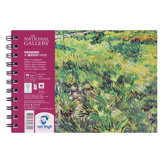National Gallery Drawing & Sketch Paper Spiral Bound Pad, 40 Sheets, 160g, 21 x 14,8cm (A5) - PackshotFront