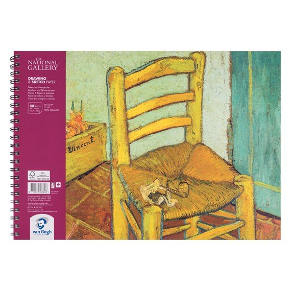 National Gallery Drawing & Sketch Paper Spiral Bound Pad, 40 Sheets, 160g, size 42 x 29.7cm (A3) - PackshotFront
