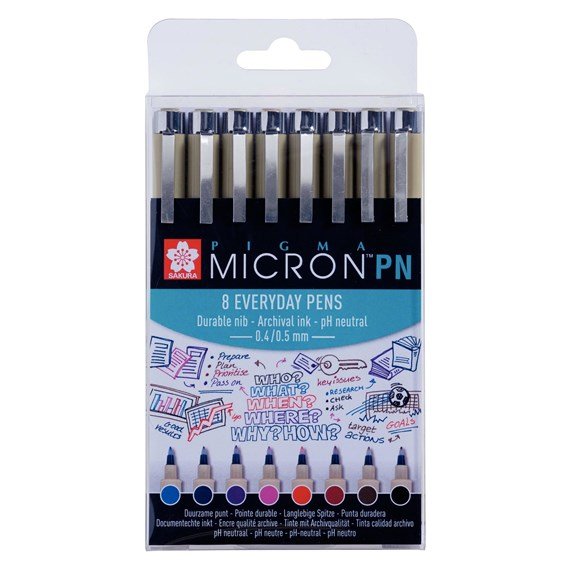 Pigma Micron PN set 8 Assorted Colours - PackshotFront