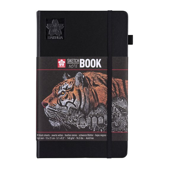 sketch/note book 13x21cm 80 pages black paper 140g - PackshotFront