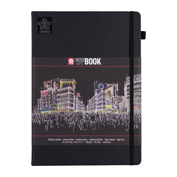 sketch/note book 21x29, 7cm 80 pages black paper 140g - PackshotFront