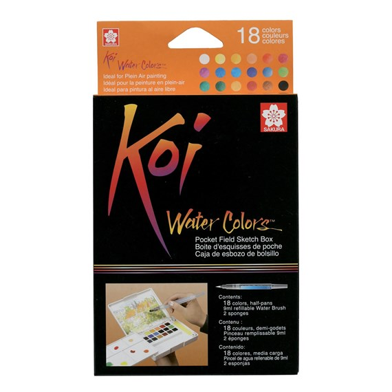 Koi watercolours Sketch Box 18 kleuren - PackshotFront