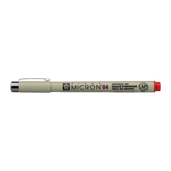 Pigma Micron 04, 0,4 mm, Rot - PackshotFront