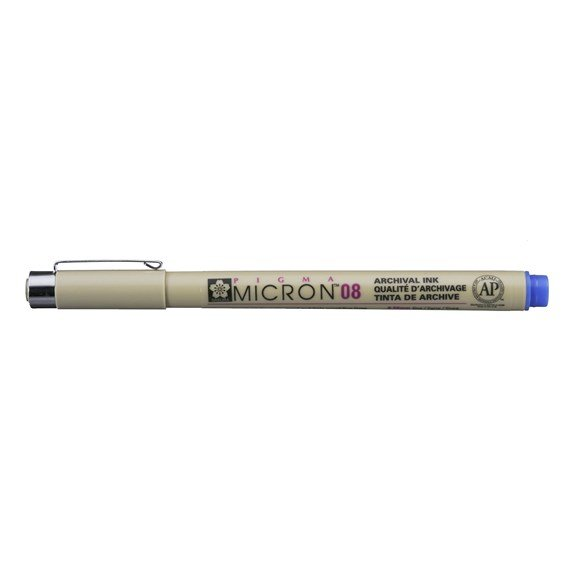 Pigma Micron 08 0.5 mm Blue - PackshotFront