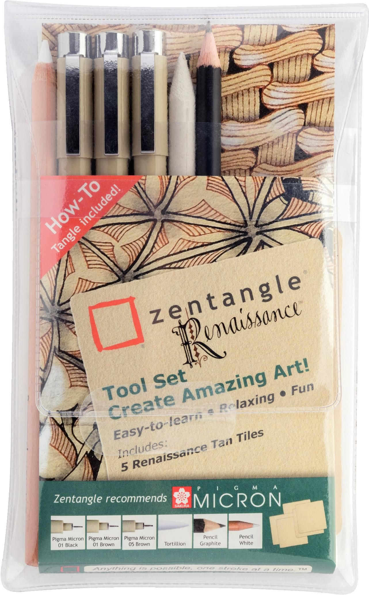 Sakura Zentangle Apprentice Tool Set White Tiles Pigma Pens Pencil Tortillion